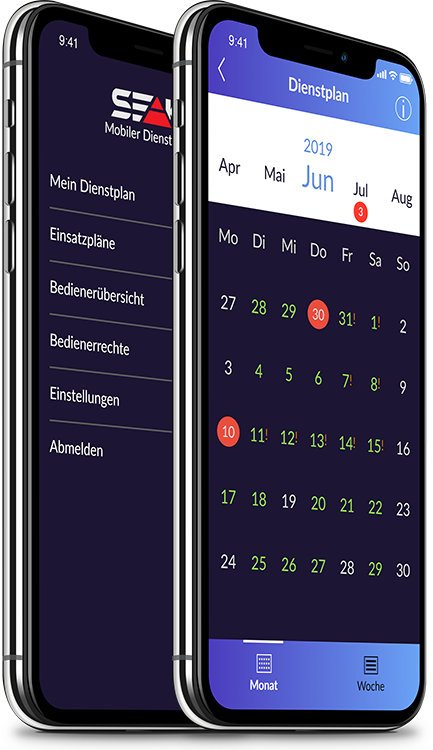 Menü und Monatsübersicht | Mobiler Dienstplan von SEAK | www.seak.de